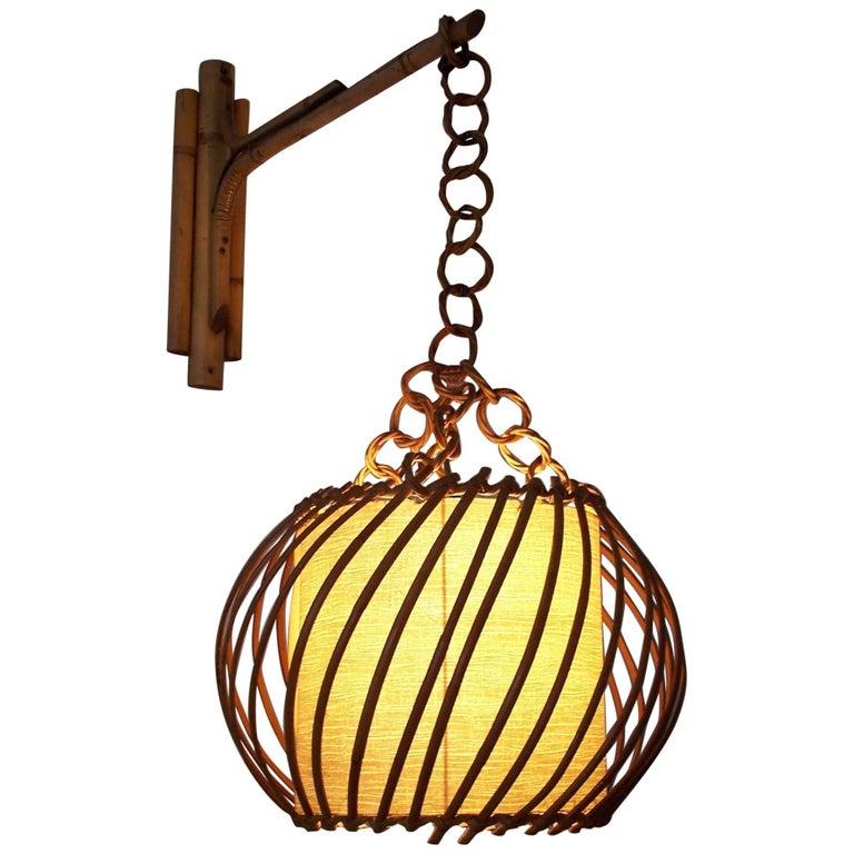 Midcentury Rattan Wall Lamp