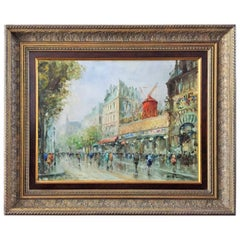 "Early 20th Century French Oil Painting ""Le Moulin Rouge"""