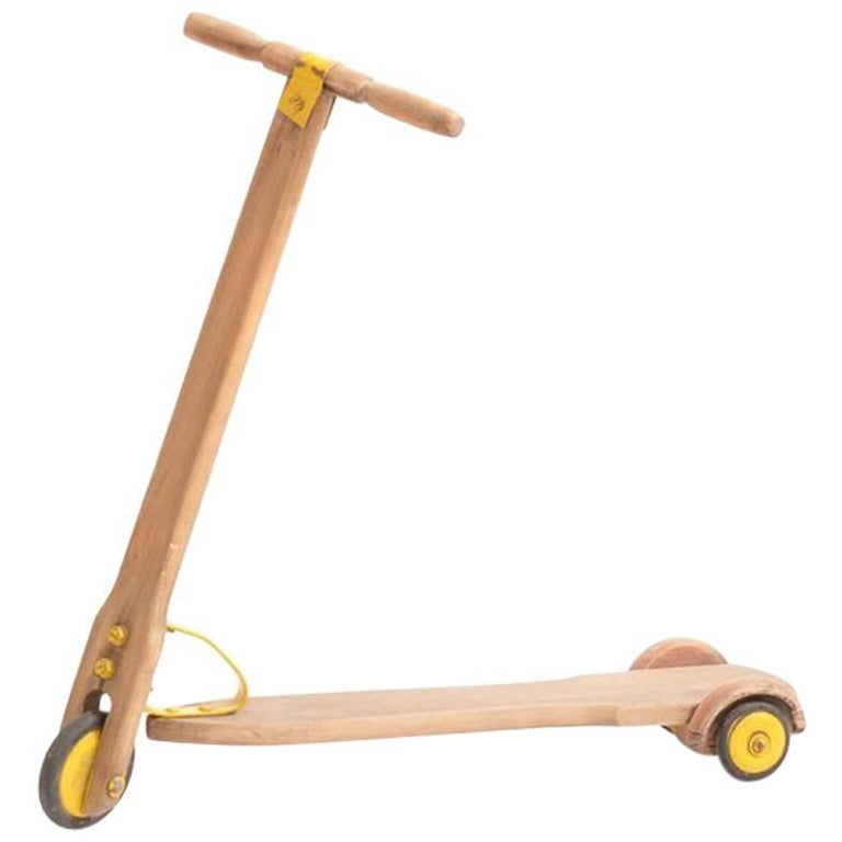 Vintage Wooden Scooter from Czechoslovakia circa 1950