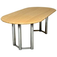 1970s Vintage Italian Marble and Chrome Dining Table