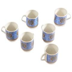 Set of Six Original Midcentury Porcelaine Mugs circa 1960
