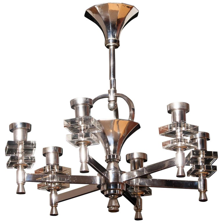 Chromed and Crystal  French Chandelier, 1940s