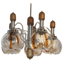 XXL Chandelier in Wood and Chrome Five Lights With Murano Glass