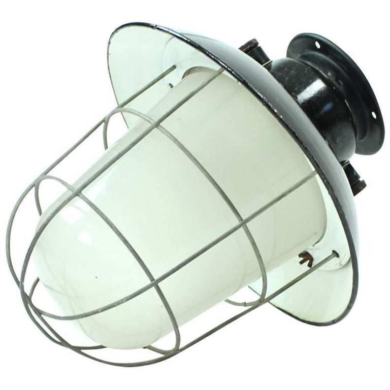 Industrial Factory Ceiling Light in Glass and Black Metal, Czechoslovakia 1950