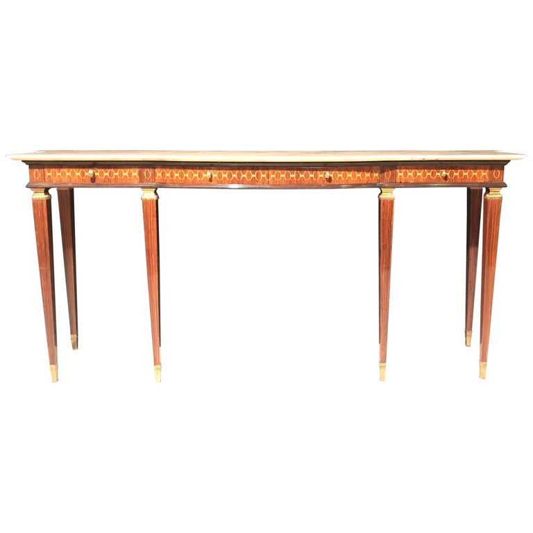 Italian Modernist Midcentury Bronze-Mounted Console Table
