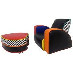 Harry Segil Pop Art Lounge Chair and Ottoman, circa 1980s