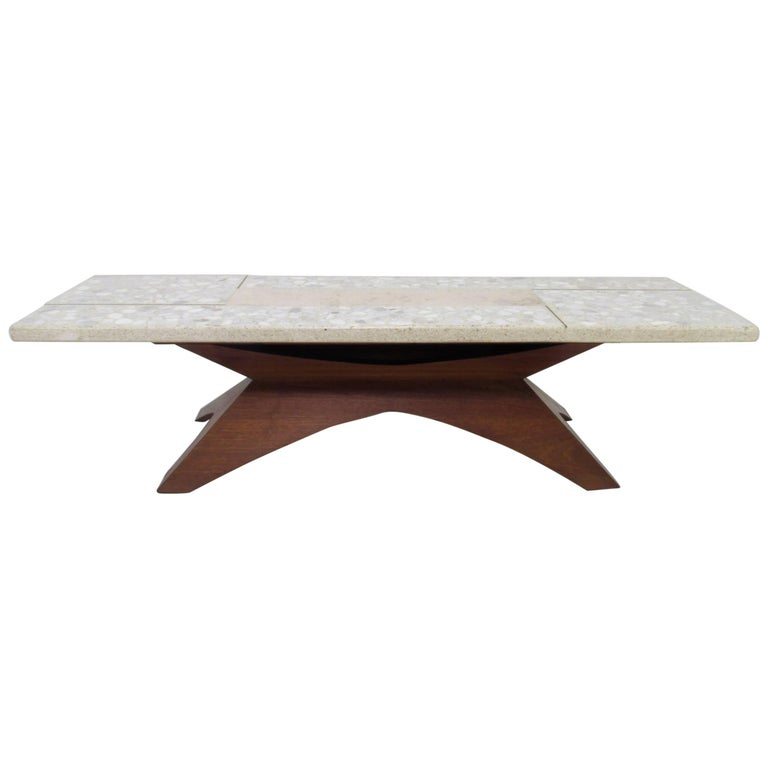 Sculptural Terrazzo and Marble Coffee Table in Manner of Harvey Probber