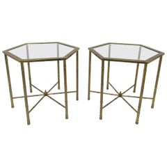 Pair of Mastercraft Hollywood Regency Style Brass Hexagonal Side Tables