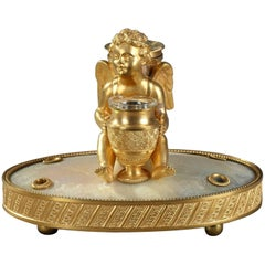 19th Century Charles X Ormolu and Mother-of-Pearl Inkwell With Cupid