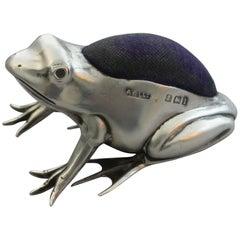 Edwardian Novelty Silver Frog Pin Cushion by Adie & Lovekin, Birmingham, 1910