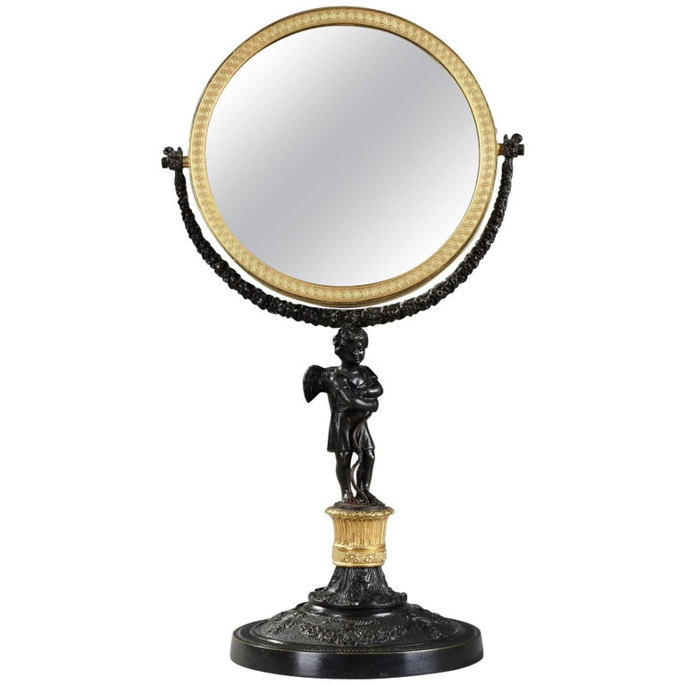 19th Century Charles X Gilt and Patinated Bronze Pivoting Mirror For Sale