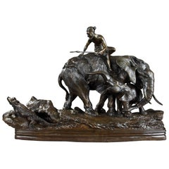 Bronze Sculpture Lion Hunting by Antonio Amorgasti 'Italien, 1880-1942'