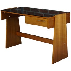 Teak and Black Glass Top Desk Design of the 1960s