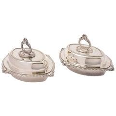 Pair of Edwardian Silver Plated Entree Dishes, circa 1905