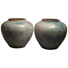 Pair of Huge Ancient Chinese Han Dynasty Green Glazed Vases, 206 BC