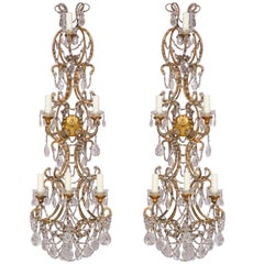 Italian Gilt Iron and Crystal Beaded Sconces