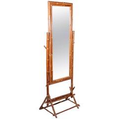 1990s Bamboo Standing Mirror