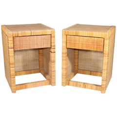 1980s Pair of Rattan Side Tables with Drawer