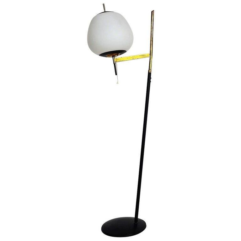 Stilnovo Floor Lamp with White Opaline Glass Globe and Brass Details, 1950s