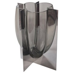 Carlo Nason, Vase in Stainless Steel and Gray Acciaio