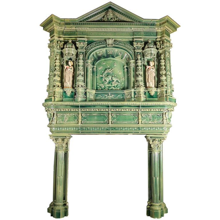 19th Century French Glazed Ceramic Fireplace Surround Chimneypiece