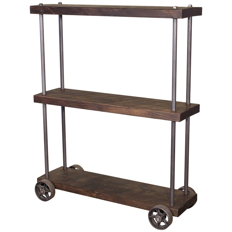 Industrial Rolling Shelving Storage Rack Bookcase, Rough Sawn Pine and Cast Iron