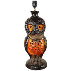 1970s Huge Fat Lava Ceramic Owl Table Lamp