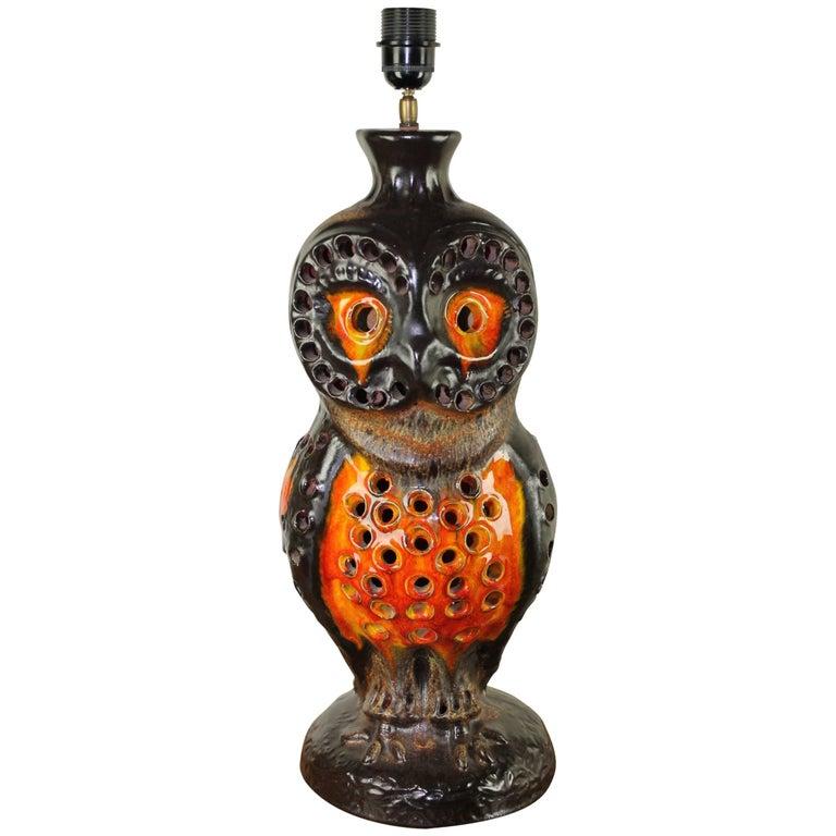 1970s Huge Fat Lava Ceramic Owl Table Lamp