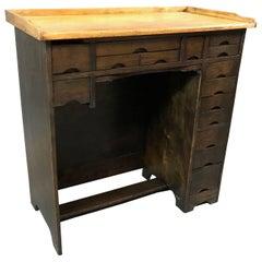 Industrial 1920s Two-Tone Maple Watchmaker's Desk