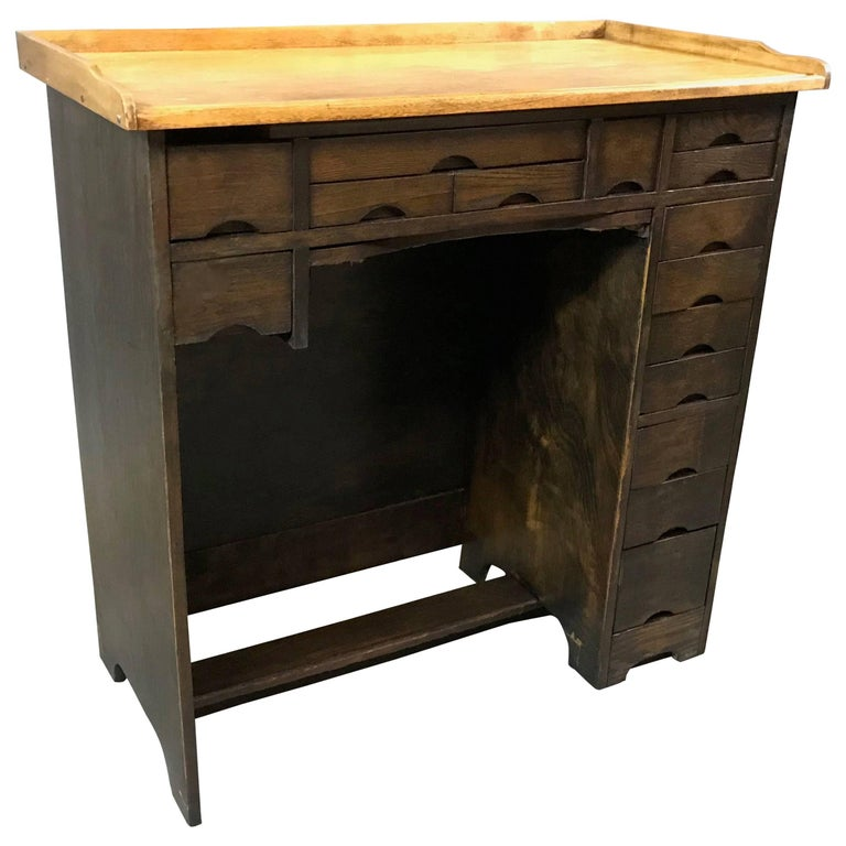 Industrial 1920s Two-Tone Maple Watchmaker's Desk