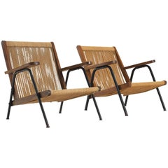 Two French Sculptural Rope Armchairs