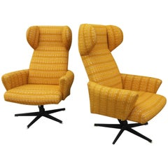 Pair of Wingback Swivel Chairs, Produced by Drevotvar, Czechoslovakia, 1970s