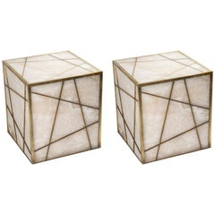 Pair of Alabaster Cube Pedestals