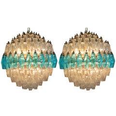 Pair of Extraordinary Spherical Poliedri Chandeliers, Murano