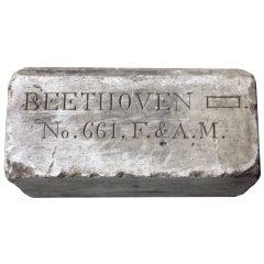 1800s Beethoven Free Mason Masonic Marble Lodge Stone