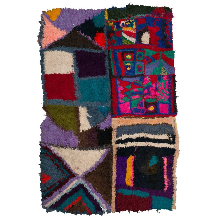 Large Moroccan Berber Handmade Tapestry, Bright Colors, Mixed Fabrics
