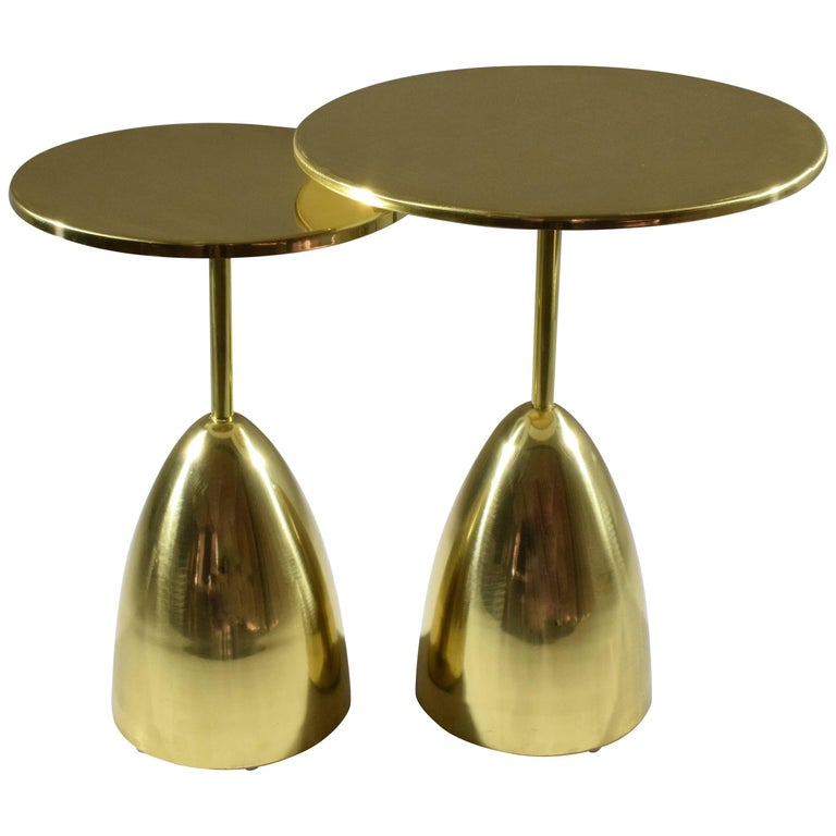 Pair of or Brass Gueridon Tables, Flow Collection by Jonathan Amar