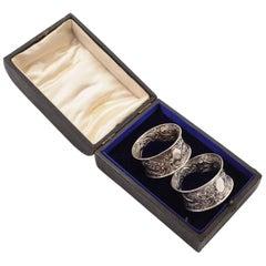 Cased Pair of Edwardian Silver Napkin Rings, Birmingham, 1904