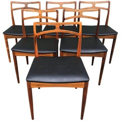 Six Danish Rosewood Dining Chairs by Johannes Andersen for Christian Linnerberg