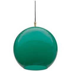 Uno & Östen Kristiansson Glass Pendant Lamp in Jade Color, Sweden, 1960s