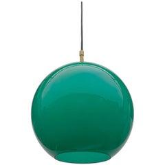Uno & Östen Kristiansson Glass Pendant Lamp in Jade Color, Sweden, 1960s