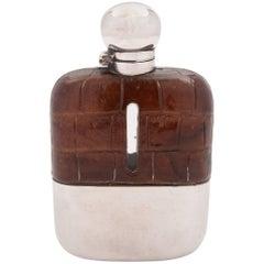 Edwardian Crocodile Leather Covered Hip Flask, circa 1905