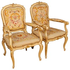 Pair of Italian Lacquered and Gilt Armchairs in Louis XV Style, 20th Century