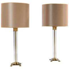 Pair of Perspex Lamps
