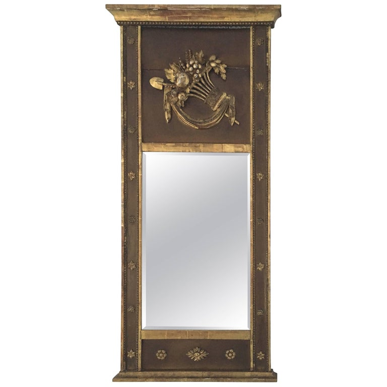 Narrow Painted and Parcel-gilt Trumeau Mirror