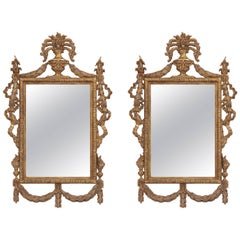 Monumental Pair of Neoclassical Gilt Wood Mirrors