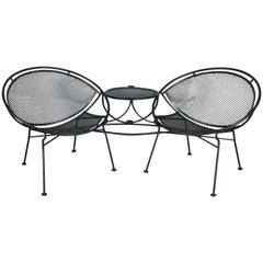 Salterini 'Radar' Wrought Iron Tête-à-Tête Lounge Chair