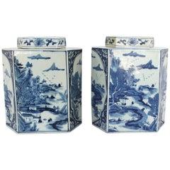 Pair of Hexagonal Chinese Blue and White Tea Caddies