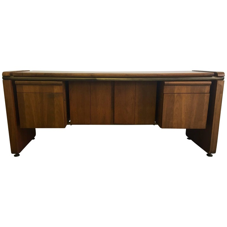 Midcentury Walnut and Bronze Cabinet