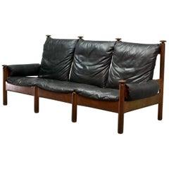 Sturdy Midcentury Black Leather Scandinavian Three-Seat Sofa, 1960s